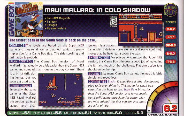 Maui Mallard review Nintendo Power